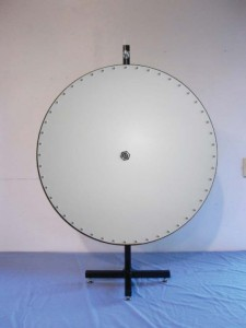 Plain UV coated white finish prize wheel.
