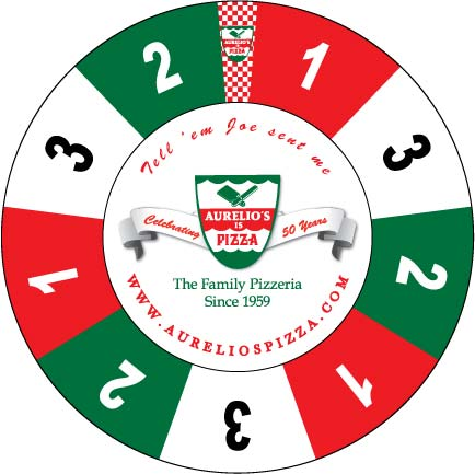 Aurelio's Pizza custom prize wheel