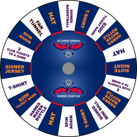 Atlanta Hawks custom prize wheel