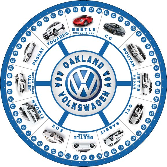 Oakland VW custom prize wheel