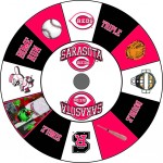 Sarasota Reds Baseball custom prize wheel